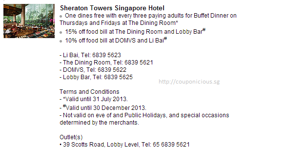 sheraton towers singapore hotel | hsbc | 1 dines free with 3