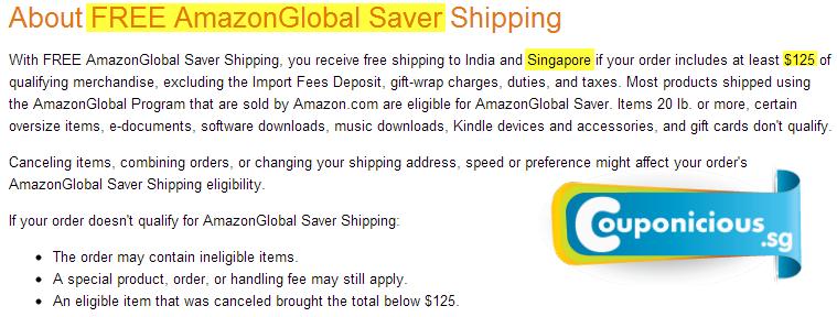 amazon Singapore free shipping