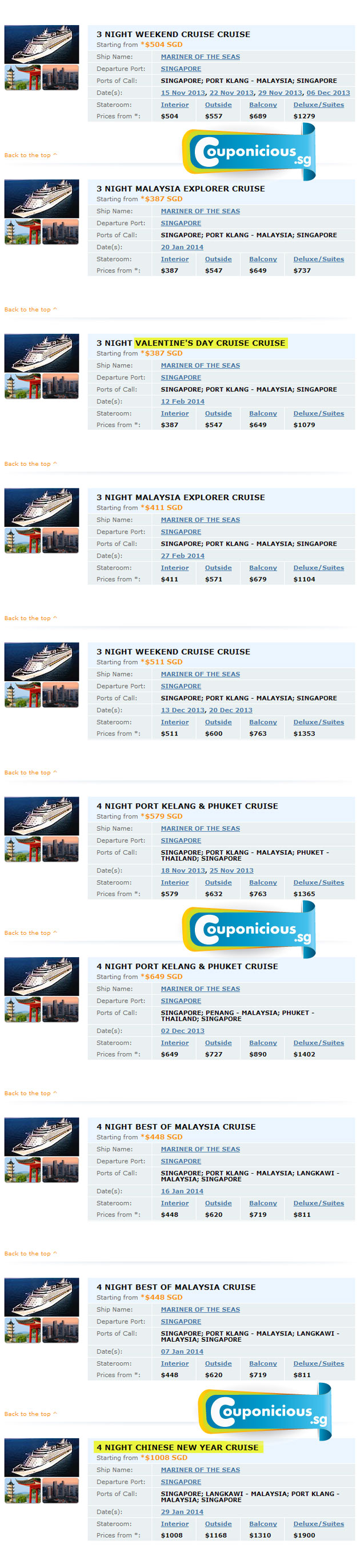 royal caribbean sailing schedule