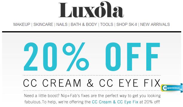 Luxola | 20% Off Nip + Fab CC Cream & CC Eye Fix - Couponicious.sg