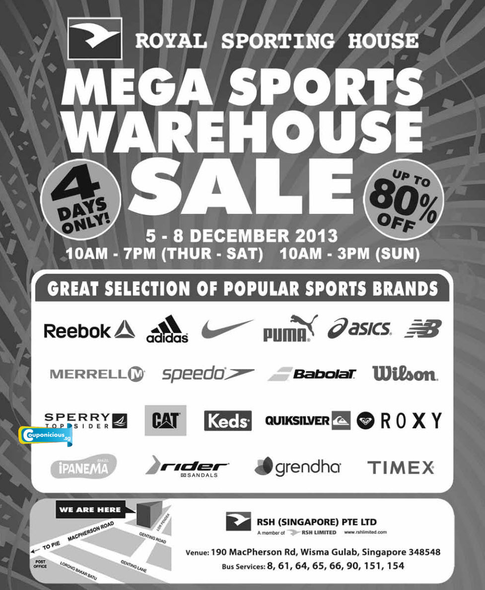 MEGA SPORTS WAREHOUSE SALE : Up To