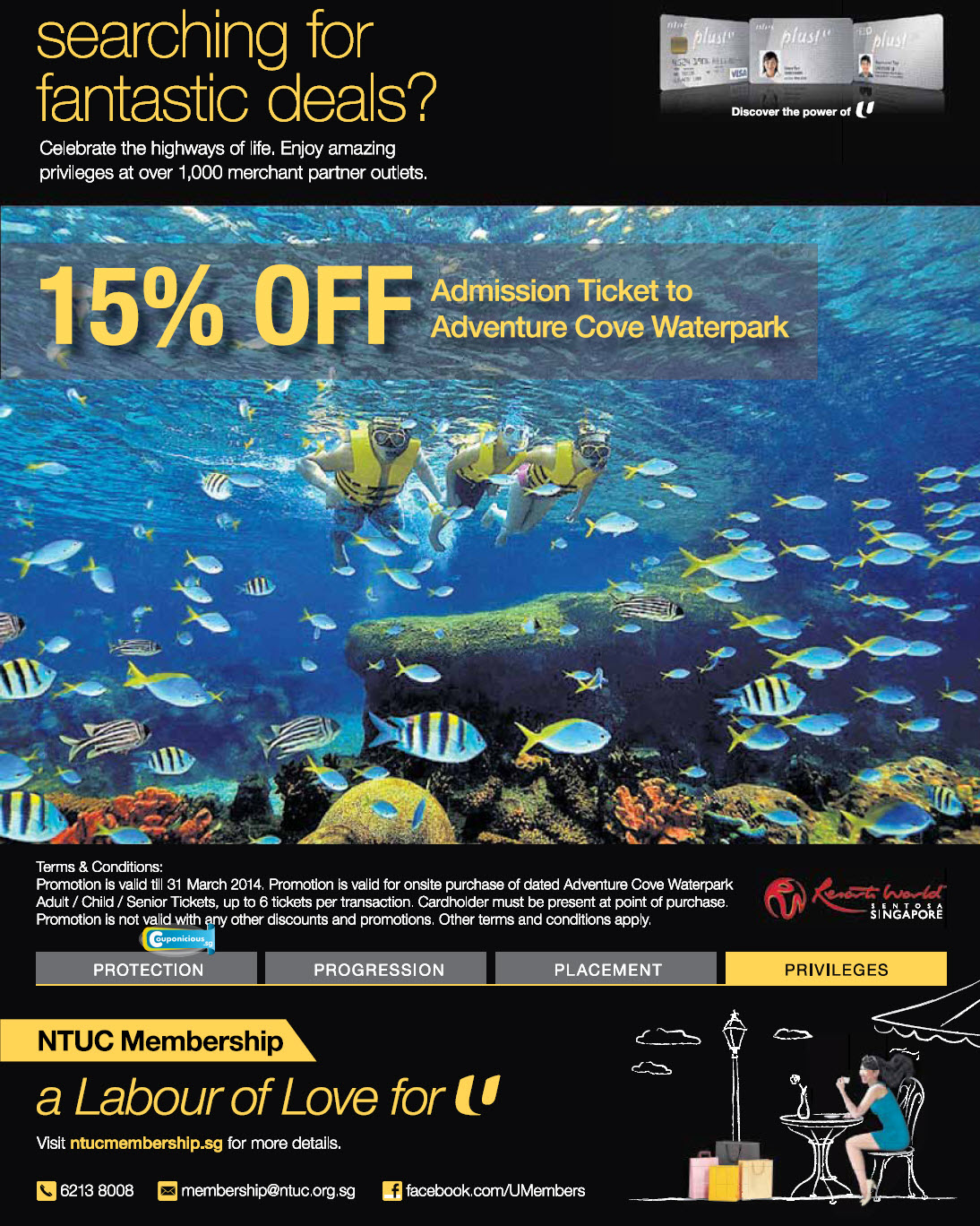 Resort Worlds Ntuc 15 Off Admission Ticket To Adventure Cove Singapore Et Tiket Park Popular Promotions And Sales